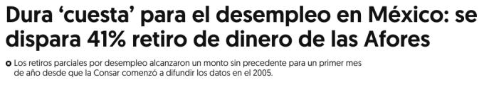 Dura cuesta para el desempleo en México