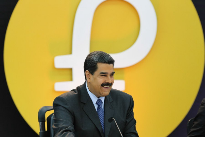 Maduro muy feliz presentando su criptomoneda Petro